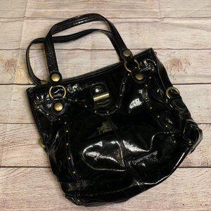 Kathy Van Zeeland Large Patent Leather Handbag